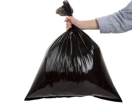 black plastic garbage bag: Black Garbage Bag close up