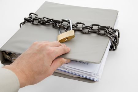 Lock and file folder, concept of Confidential Document Stock Photo - 6726519