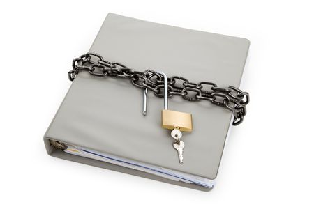 Lock and file folder, concept of Confidential Document Stock Photo - 6726492