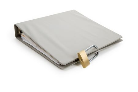 Lock and file folder, concept of Confidential Document Imagens