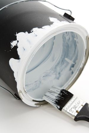 a Black Paint Can and Paintbrush Stok Fotoğraf