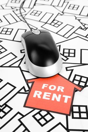 a red home sign and computer Mouse,  Real Estate Concept Stock Photo - 6745795
