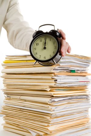 File Stack and clock with white background photo