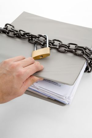 lock: Lock and file folder, concept of Confidential Document Stock Photo