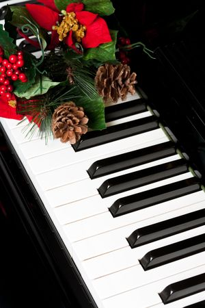 xmas background:  Piano Key close up shot Stock Photo