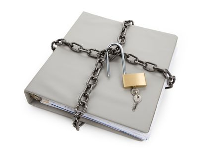 Lock and file folder, concept of Confidential Document Stock Photo - 6797833
