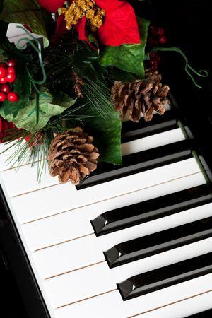 christmas backgrounds:  Piano Key close up shot Stock Photo