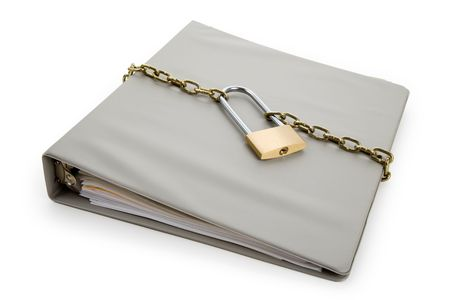 Lock and file folder, concept of Confidential Document Stock Photo - 6883706