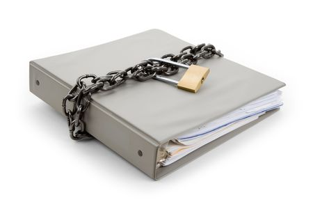 Lock and file folder, concept of Confidential Document Stock Photo - 6883832