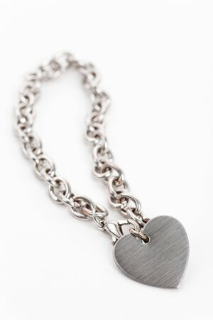 silver jewelry: Chain and Heart Shape close up