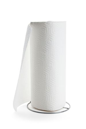 White paper towel roll with white background photo