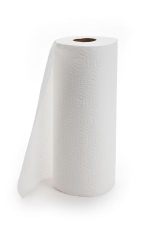 White paper towel roll with white background Фото со стока