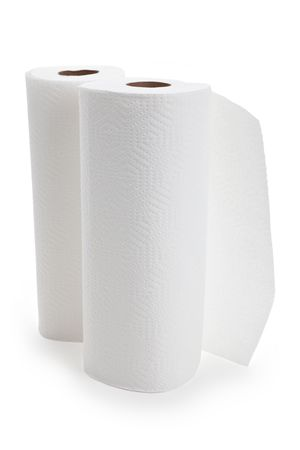 White paper towel roll with white background 版權商用圖片