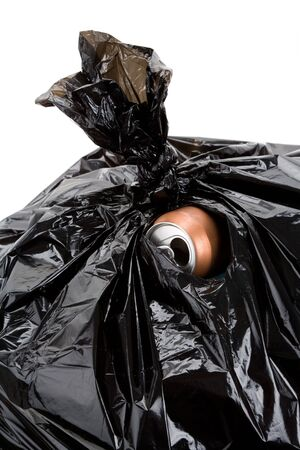 Black Garbage Bag and can, concept of recycling