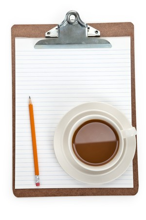 Coffee cup and Clipboard with white background photo