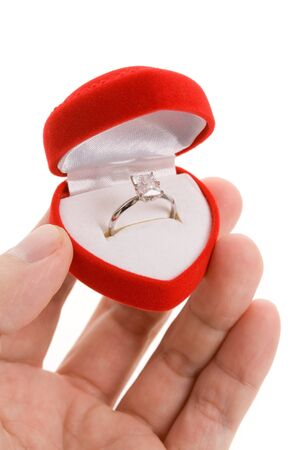 diamond shaped: Red Heart Shaped Jewel Box and diamond Ring Stock Photo