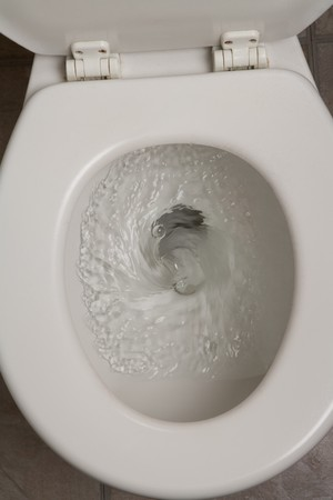 Toilet, Flushing Water, close up