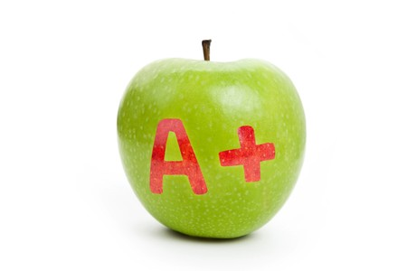 green background: Green apple and A Plus sign, Concept of learning