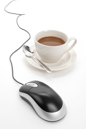 cup: Coffee cup and computer mouse with white background Stock Photo