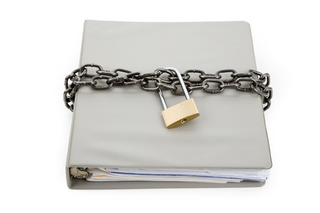 Lock and file folder, concept of Confidential Document Stock Photo - 7140491