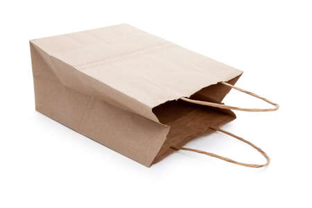 Brown paper shopping bag with white background Stock Photo - 7175117