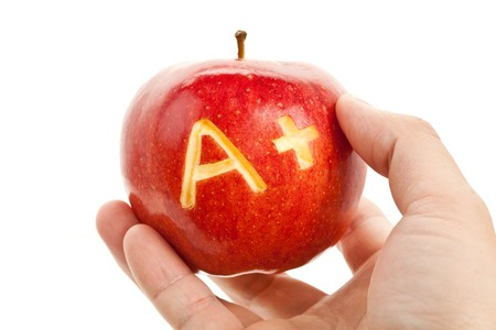best schools: Red apple and A Plus sign, Concept of learning