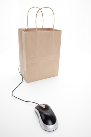 brown: Brown paper shopping bag and  Computer Mouse with white background