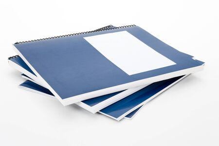guidebook: Blue school textbook, notebook or manual with white background