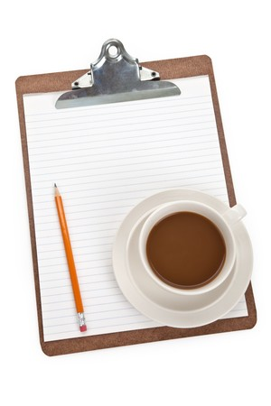 Coffee cup and Clipboard with white background Banco de Imagens