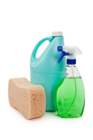 cleanser: Cleanser Bottles close up shot Stock Photo
