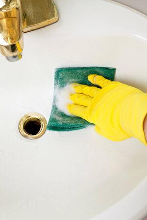 Cleaning Bathroom Tile washbowl close up Stock Photo - 7309528