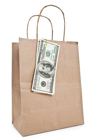 Brown paper shopping bag with white background