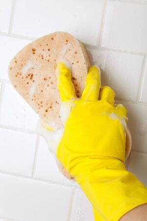 bathroom wall: Cleaning Bathroom Tile Wall close up