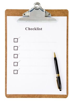 Checklist and Clipboard with white background photo