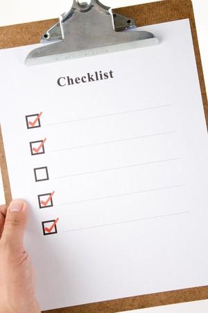 Liste de contrôle et de presse-papiers avec fond blanc Banque d'images - 7400524