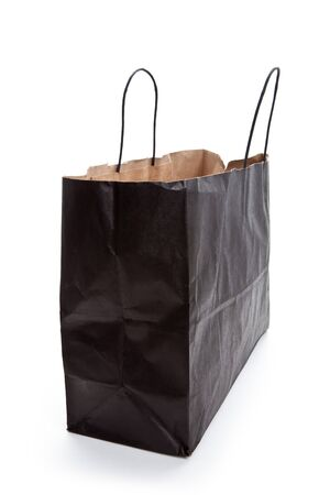 Black paper shopping bag with white background Banco de Imagens
