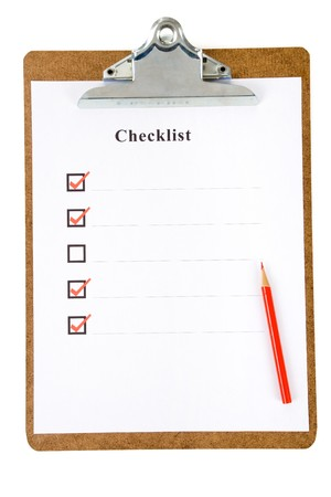 Checklist and Clipboard with white background Stock Photo - 7431447
