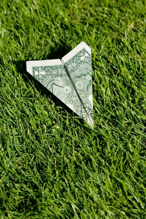 US Dollar Airplane and green grass, concept of Environmental Conservation photo