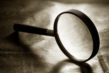 magnifying glass on Black background
