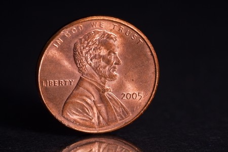 US Penny with Black Background photo