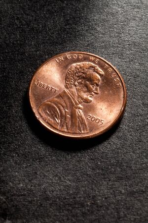 US Penny with Black Background Stock Photo - 7431875