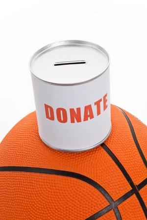 Cuadro de donaci�n y de baloncesto, en concepto de fondos de deporte  Foto de archivo - 7431848