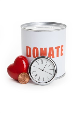 money time: Donation Box and Red Heart, Concept of Care and Love