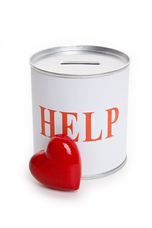 Help, Donation Box and Red Heart, Concept of Care and Love photo