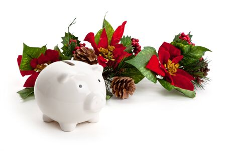 christmas savings: Christmas Decoration and Piggy bank, concept of Home Finances