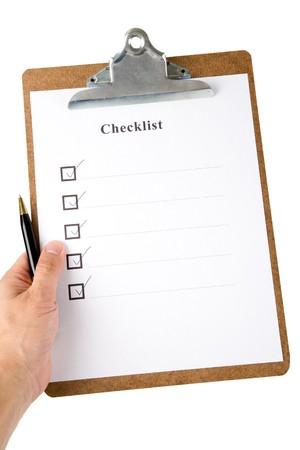 portapapeles: Lista de comprobaci�n y portapapeles con fondo blanco