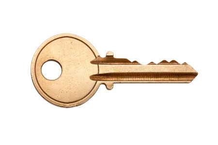 key to success: Golden House Key with white background