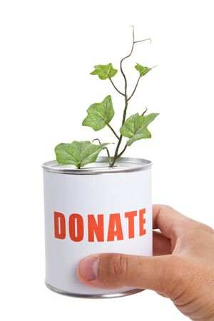 Donation Box and Green Plant, Concept of Recession Stock fotó