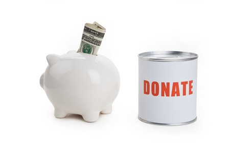 Donation Box and Piggy bank, Concept of finance conflict photo