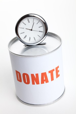 Donation Box and clock, Concept of time to donate or donate your time. Stock Photo